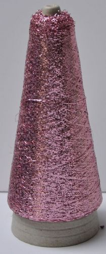 Rose pink metalic Lurex thread fine 3400mtr 50g cone